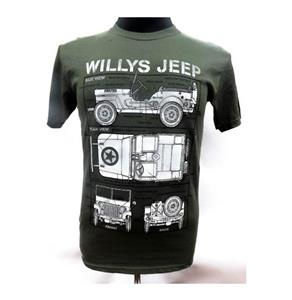 Willys Jeep Blueprint Design T-Shirt Olive 2X-LARGE