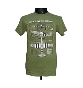 P-51 Mustang Blueprint Design T-Shirt Olive Green 2X-LARGE
