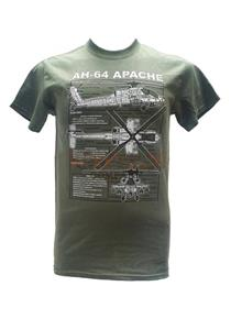 Apache AH-64 Helicopter Blueprint Design T-Shirt Olive Green 2X-LARGE