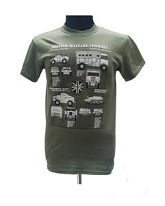 British Army WWII Vehicles Blueprint Design T-Shirt Olive Green X-LARGE
