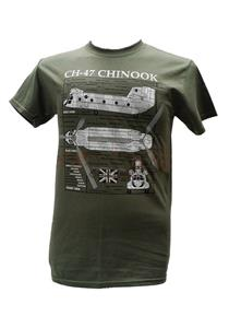 CH-47 Chinook Helicopter Blueprint Design T-Shirt Olive Green 2X-LARGE