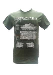 Chieftain FV4201 Main Battle Tank Blueprint Design T-Shirt Olive Green 2X-LARGE