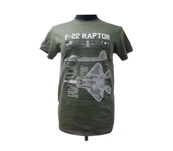 Lockheed Martin F-22 Raptor Blueprint Design T-Shirt Olive MEDIUM