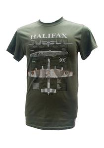 Handley Page Halifax Blueprint Design T-Shirt Olive Green LARGE