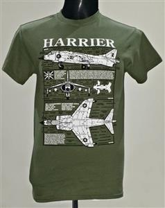 Hawker Siddeley Harrier Blueprint Design T-Shirt Olive Green LARGE