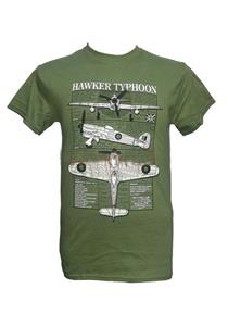 Hawker Typhoon Blueprint Design T-Shirt Olive Green LARGE