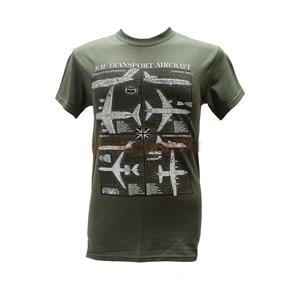 RAF Transport Aircraft Blueprint Design T-Shirt Olive Green MEDIUM