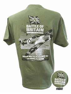 Spitfire Battle Of Britain Action T-Shirt Olive Green X-LARGE