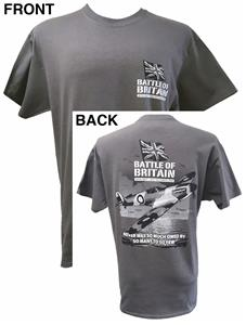 Spitfire Battle Of Britain Action T-Shirt Grey MEDIUM