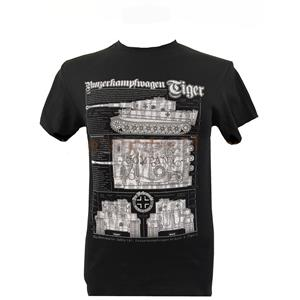 Tiger WW2 Tank Blueprint Design T-Shirt Black LARGE
