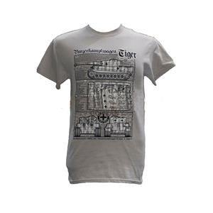 Tiger WW2 Tank Blueprint Design T-Shirt Grey LARGE