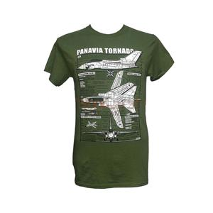 Panavia Tornado Blueprint Design T-Shirt Olive Green MEDIUM