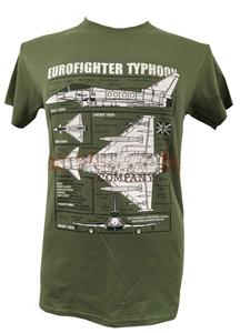 Eurofighter Typhoon Blueprint Design T-Shirt Olive Green 3X-LARGE