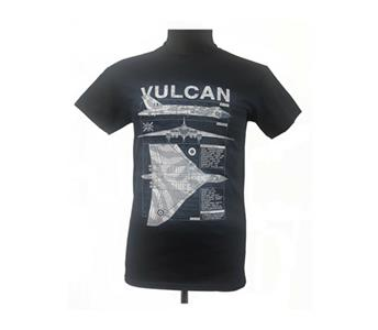 Avro Vulcan Blueprint Design T-Shirt Black X-LARGE