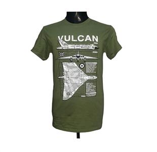 Avro Vulcan Blueprint Design T-Shirt Olive Green 2X-LARGE